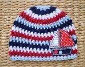 Nautical Baby Hat, Nautical Hat, Nautical Stripe, Sailboat Hat, Beanie, Crochet, Newborn, Toddler, Navy, Blue, White, Red, Photo Prop