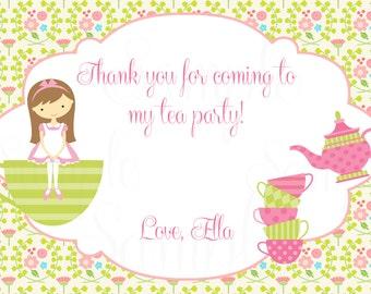 Tea Party Birthday Theme Printable- Thank you Cards