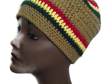 Unisex Rasta Vibe Crochet Beanie