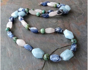 Chunky Multi Gem Necklace, Casual Gemstone Necklace, Long Necklace w Aquamarine, Sodalite, Rose Quartz & 925 Sterling Silver, Natural Stone