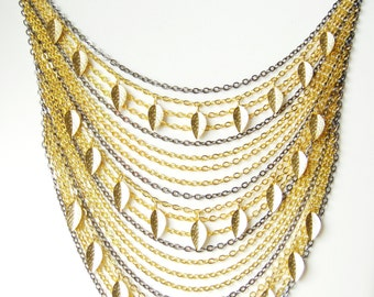 Gold & gunmetal statement necklace, bib necklace, multistrand, gold jewelry