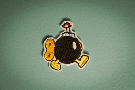 Bob-omb -- Embroidered Iron-on Mario NES Bomb Patch