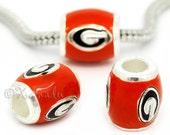 Georgia Bulldogs Logo European Bead Charm - University Of Georgia Football Team Bead For All European Charm Bracelet Chains