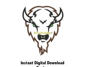 DD BUFFALO or BISON Applique - Machine Embroidery Design - 4 Sizes - Instant Download