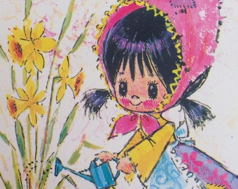 Vintage Postcard 70's Cute Girl in the Garden Yellow
