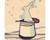 Rabbit Art Print, Bunny Illustration, Nursery Rabbit Stars Wall Art, Kids Decor, Cute Bunny Nursery Decor, Animal Print