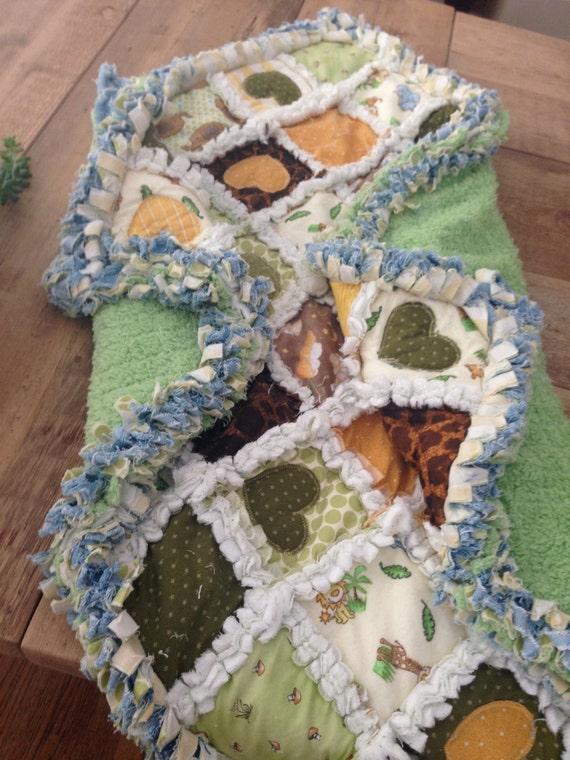 Hearts Baby Blanket, Denim Baby Blanket, Green Baby Blanket, Chenille Baby Blanket