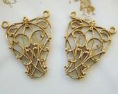 Ornate Art Nouveau Raw Brass Filigree Wrap Three Ring Connector - 4