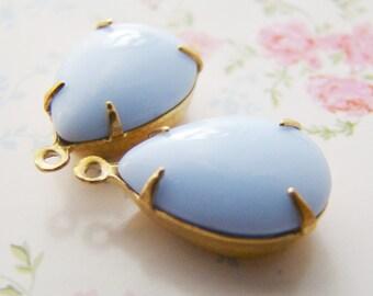 15 x 11  Opaque Pastel Blue Teardrop Jewels Stones in 1 Ring Brass Setting - 2