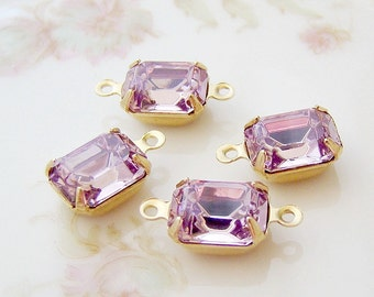 Light Amethyst 10x8mm Preciosa Crystal Stones in Brass Drop or Connector Settings