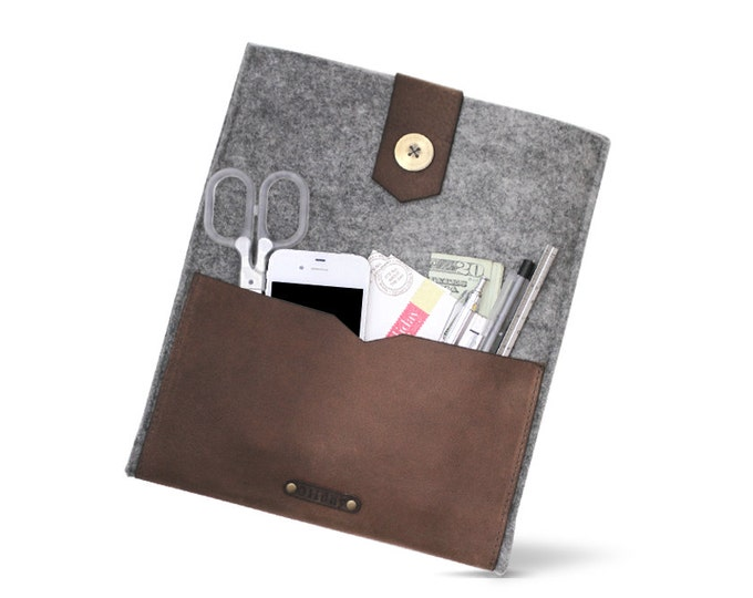 "W1024 ipad Case ""100% Wool felt & Leather"""