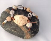 Horse Head Ceramic and Bead Wrap Bracelet on Leather, Gift for Horse Lover OOAK Hand sculpted pottery Neutral and Caramel colours