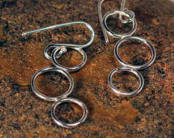 Circle earrings in sterling silver, made to order
