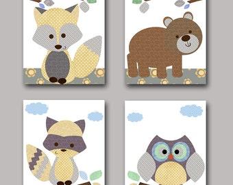 Owl Nursery Fox Nursery Bear nursery Girtl Baby Boy Nursery decor Children Art Print Baby Nursery Print set of 4 raccoon gray brown yellow /