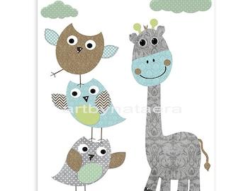 Giraffe Nursery Childrens Art Kids Wall Art Baby Boy Room Decor Baby Boy Nursery Kids Art Baby Nursery Print Owl Nursery Blue Gray