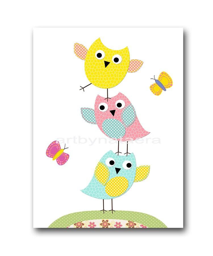 kids wall art owl nursery owl decor baby nursery decor baby