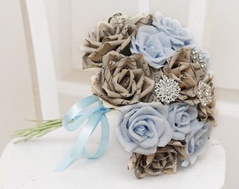 brooch bouquet, wedding bouquet, bridal bouquet, bridesmaids bouquet, paper flower bouquet, music paper bouquet, alternative bouquet