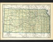 Vintage Map of Kansas From 1935 Original