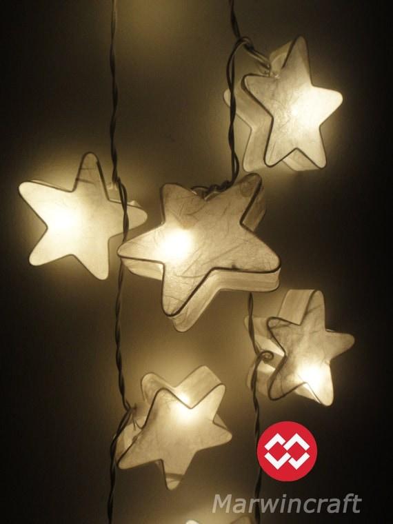 Paper Lantern String Lights For Bedroom : 20 White Stars LANTERN Paper Handmade Fairy String by marwincraft