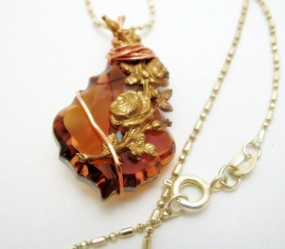 Copper Wire Wrapped Baroque Swarovski Topaz Crystal Pendant Mixed Metals