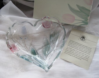 Gorgeous Mikasa Tivoli Heart Shaped 6 inch Crystal  Candy Dish MINT IOB