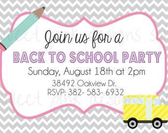 Back To School Party- Printable Invitation