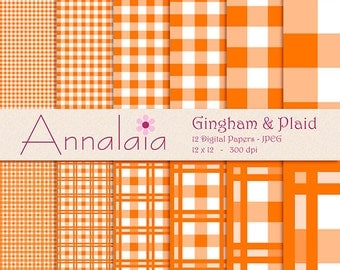 Digital Paper Pack Pumpkin Orange and White Gingham Plaid Checks Squares 12x12 8,5x11 Scrapbook Paper Commercial Use Instant Download 385
