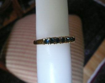 Vintage Ring - Gold Ring - Avon Ring - Costume Jewelry - Avon Jewelry - Eternity Ring - Blue Crystal Ring