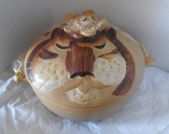 Vintage Pacific Stoneware 1973 LION, CAT Covered Casserole Dish RARE Signed