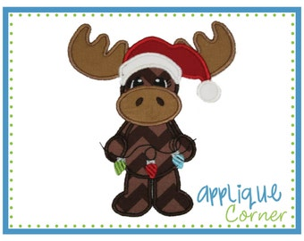 INSTANT DOWNLOAD Christmas Moose with Lights Applique design in digital format for embroidery machine by Applique Corner