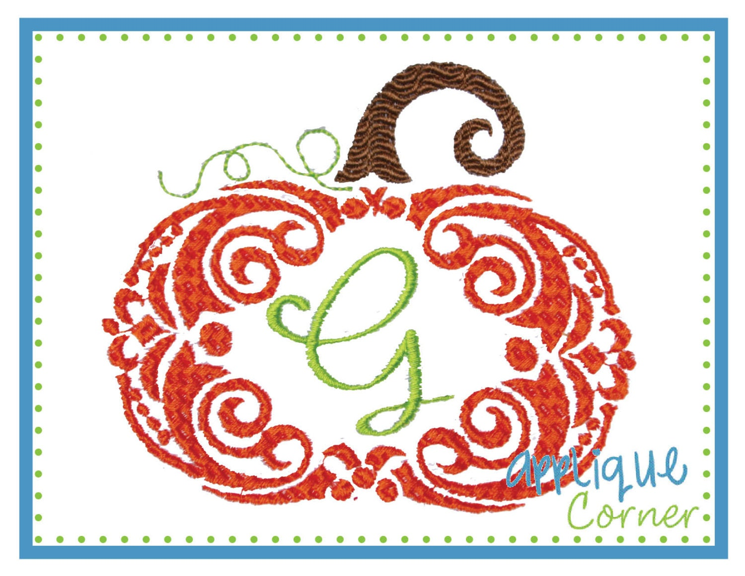 Instant download pumpkin swirl for monogram embroidery design