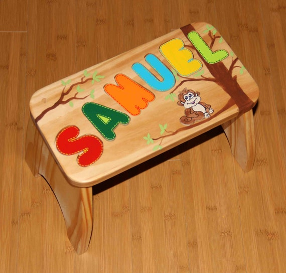Personalized puzzle piece wooden stool by twinklestarphotoprop