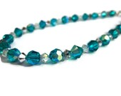 Sparkle Anklet- Swarovski Crystal teal blue Indocolite- Ball Bracelet, Summer Jewelry, Glitter, Beach