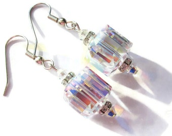 Cube Earrings, Swarovski Earrings, Bridal Jewelry, Wedding Earrings, Sparkle Earrings, Bling, Christmas Jewelry