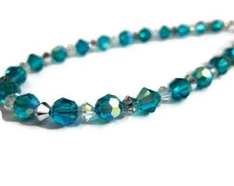 Sparkle Anklet- Swarovski Crystal teal blue Indocolite- Ball Bracelet, Summer Jewelry, Glitter, Beach