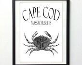 Cape Cod Crab Vintage Style 8x10 Art Print