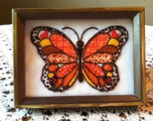 Vintage Framed Butterfly Embroidery
