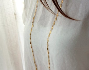 Long gold chain necklace - double strand gold chain necklace - gold leaf necklace - birthday gift idea