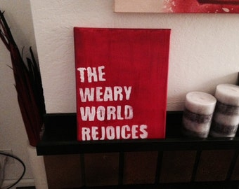 The Weary World Rejoices - Christmas Canvas Painting 8x10