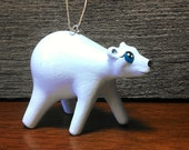 Polar bear christmas ornament holiday ornament animal handpainted, handsculpted ornament