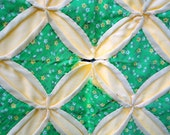 Vintage Quilt Cathedral Window Spring Green and Yellow Mid century Cottage Farmhouse Cabin