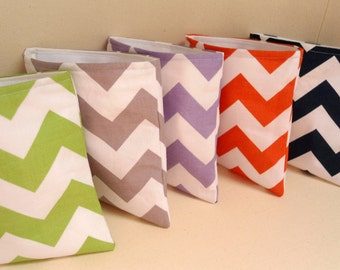 """Reusable Eco Chevron Snack and Sandwich Bags Velcro, 7"""" x 7"""", School Supplies Lunch Bags Food Pacifier Pouch,  9 Fun Colors Available!"""