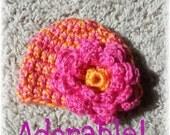 Crochet Newborn Baby Girl Hat in Orange and Pink