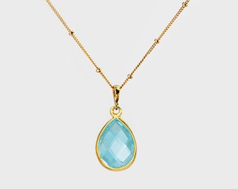 Blue Topaz Necklace - December Birthstone jewelry - gold Necklace - tear drop gemstone necklace - bezel set necklace - bridesmaid necklace