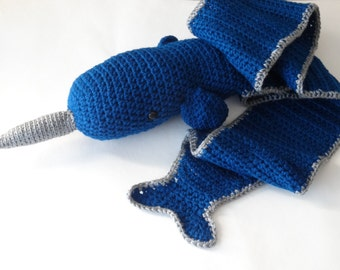 Crochet narwhal the unicorn of the sea scarf
