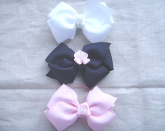 Pink white blue bow hairclip hair accesories