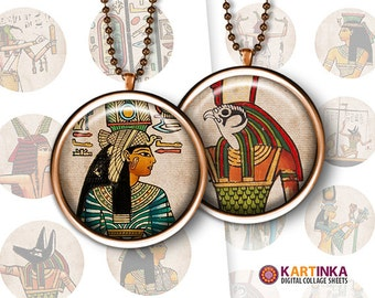 1 inch (25mm) 1.5 inch Printable EGYPTIAN Digital Images for Bottle caps Pendants Jewelry Mountings cameo setting Bezel trays Glass cabochon