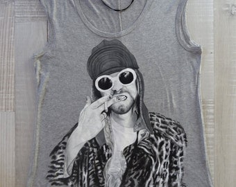 Nirvana paint on grey top- limited edition hand paint top