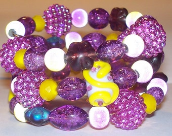 "Colorful ""Glowing Raspberry Lemonade"" Beaded Memory Wire Bracelet"