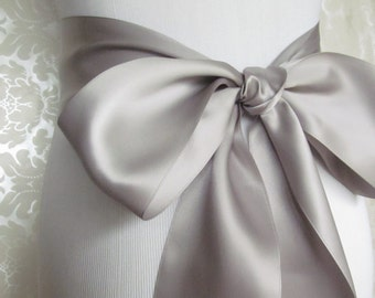 Silver Satin Ribbon Sash / Ribbon Sash / Satin Bridal Sash /  bridesmaid Sash / Silver
